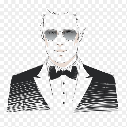 Classy man with dark suit and glasses on transparent bacground PNG