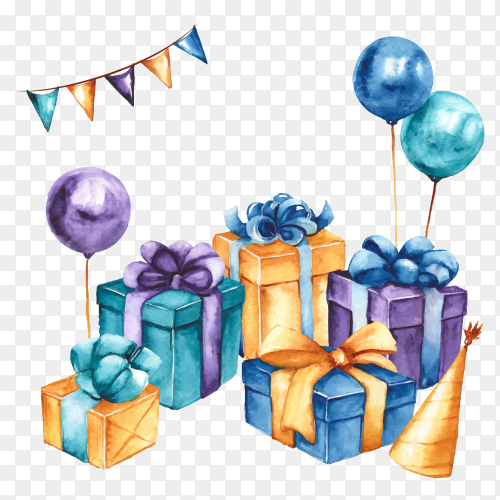 Colorful gift boxs and ballons on transparent background PNG