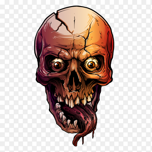Colorful human skull on transparent background PNG