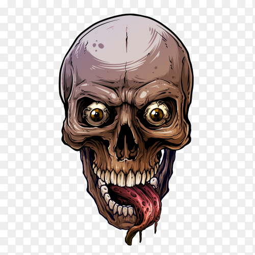 Colorful skull with long tonuge on transparent background PNG