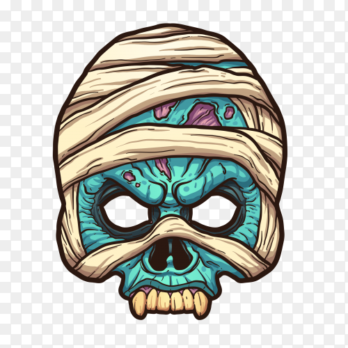 Colourful Skull Illustration on transparent background PNG
