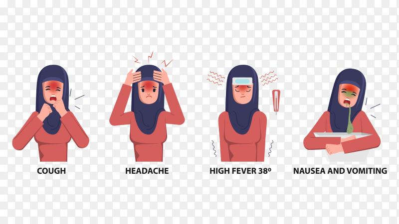 Coronavirus symptoms illustration on transparent background PNG
