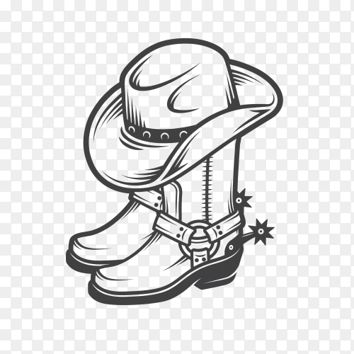 Cowboy boots and hat on transparent background PNG