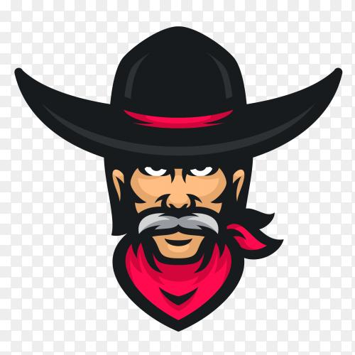 Cowboy logo icon design on transparent background PNG