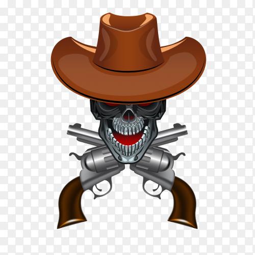 Cowboy skull on transparent background PNG