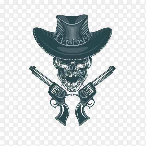 Cowboy skull with mustached and pistols on transparent background PNG