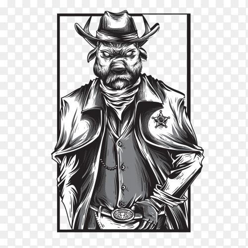 Cowboy warrior black and white illustration on transparent background PNG