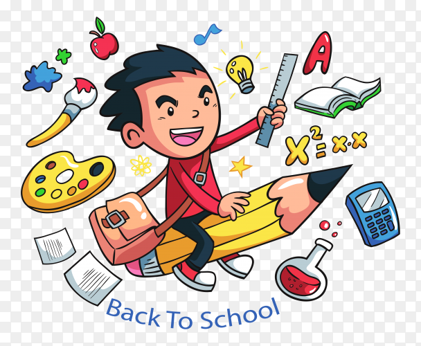 Creative boy with school elements premium vector PNG