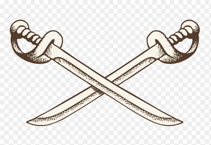 Crossed sword illustration Premium Vector PNG