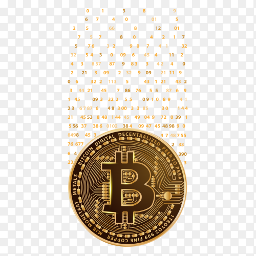 Crypto currency bitcoin with falling digits Premium vector PNG