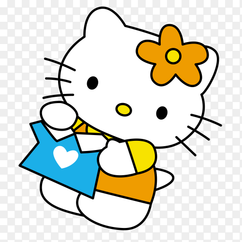 Cute Hello kitty cartoon on transparent background PNG