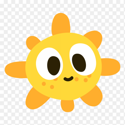Cute cartoon sun on transparent background PNG