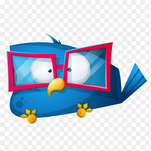 Cute funny cartoon Bird character on transparent background PNG