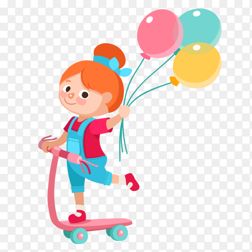 Cute girl holding colorful balloons on transparent background PNG