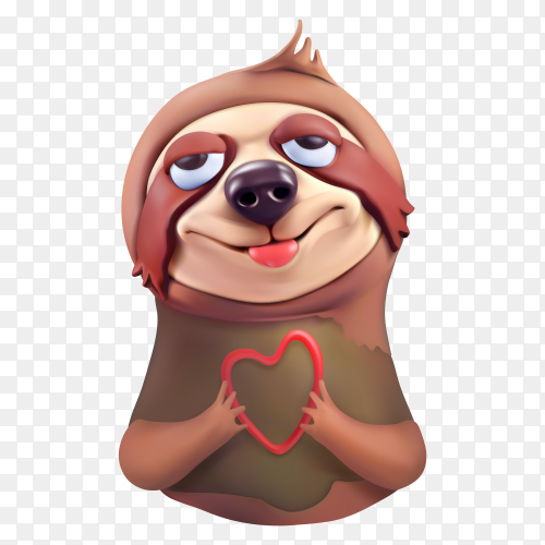 Cute sloth lovely faces cartoon character on transparent background PNG