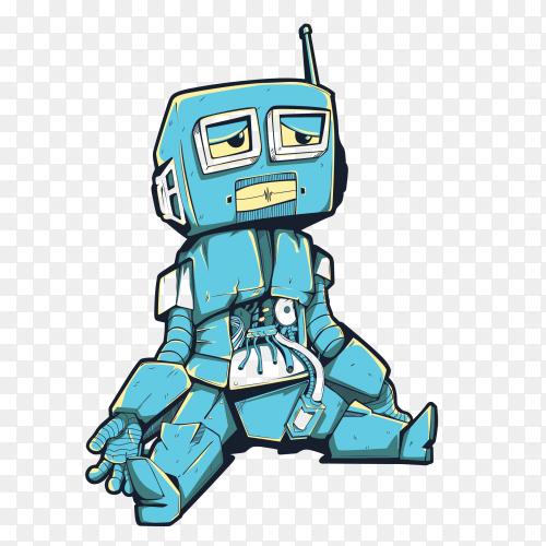 Damn Robot design on transparent background PNG