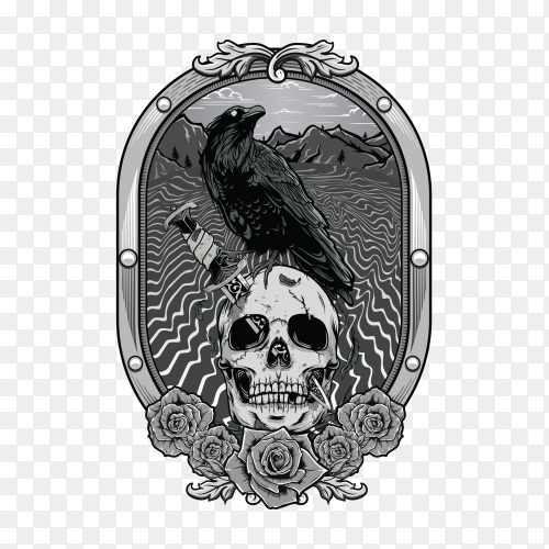 Dead skull with crow on transparent background PNG