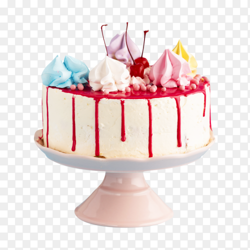 Delicious birthday cake with cream on transparent background PNG