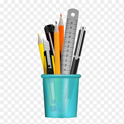 Different stationery items in blue bottle on transparent background PNG