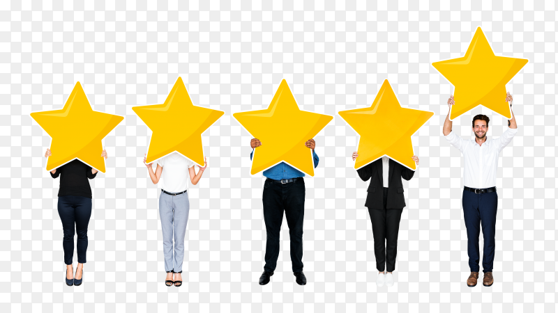 Diverse business people showing golden star rating symbol Clipart PNG