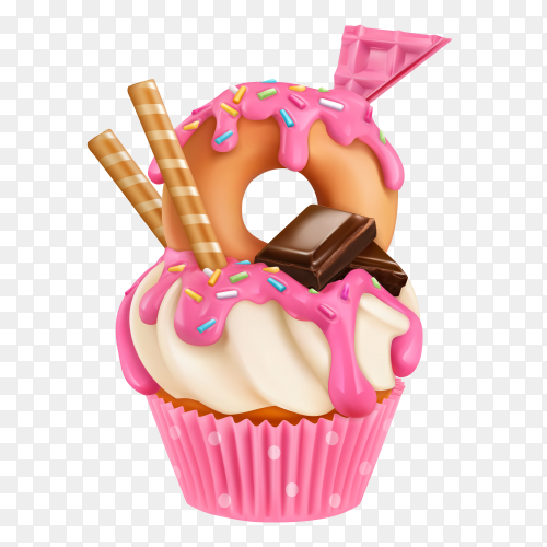 Donut cupcake illustration clipart PNG