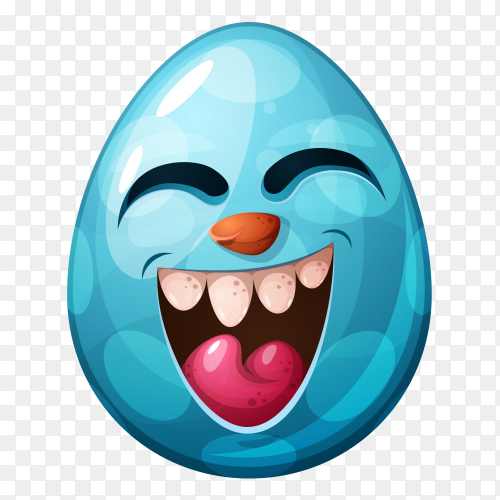 Egg with Happy face on transparent background PNG