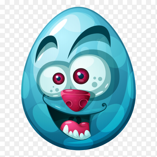 Egg with Smile face with rolling eyes on transparent background PNG