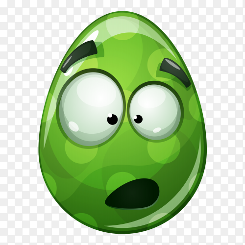 Egg with face with open mouth on transparent background PNG