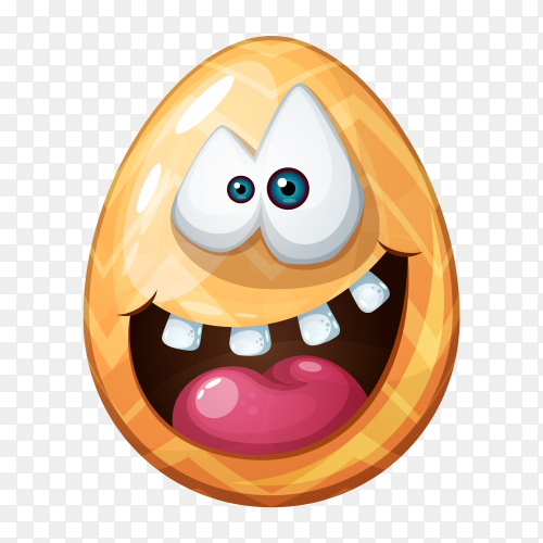 Egg with open mouth and rolling eyes Premium vector PNG