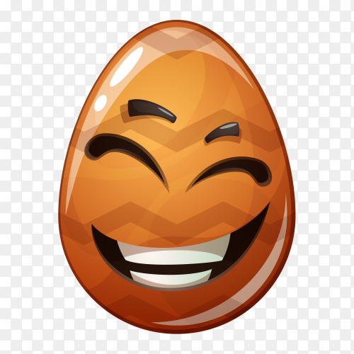 Egg with smiley face on transparent background PNG
