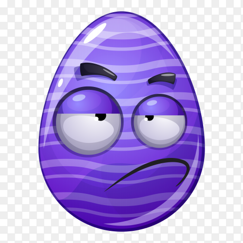 Egg with smirking face on transparent background PNG