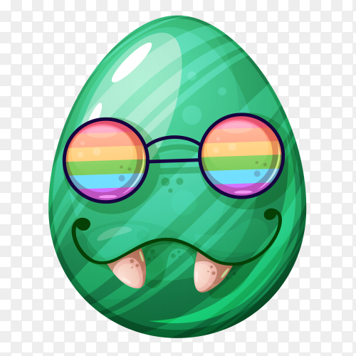 Egg with sunglasses face on transparent background PNG