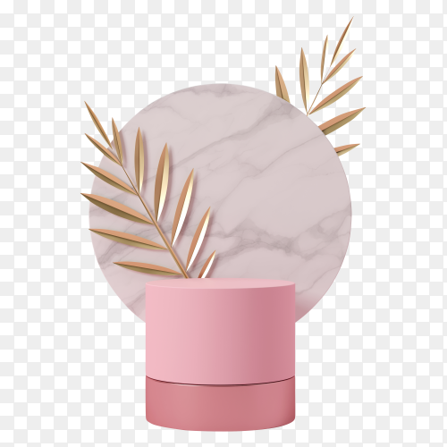 Empty podium studio pink background with palm leaves on transparent background PNG
