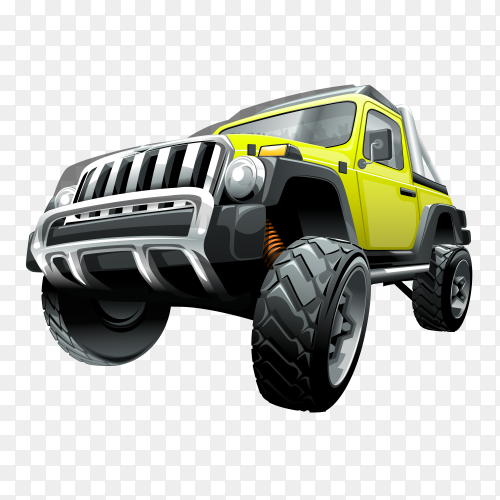 Extreme yellow off road vehicle suv on transparent background PNG