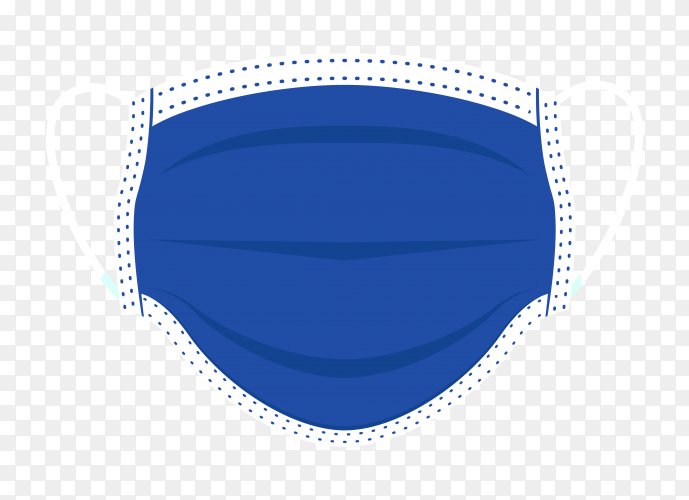 Face medical mask on transparent background PNG