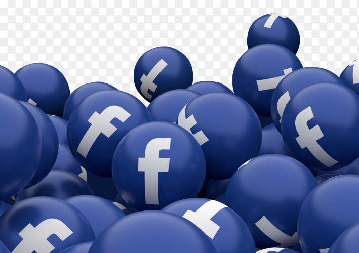 Facebook icon emoji 3D render Premium vector PNG