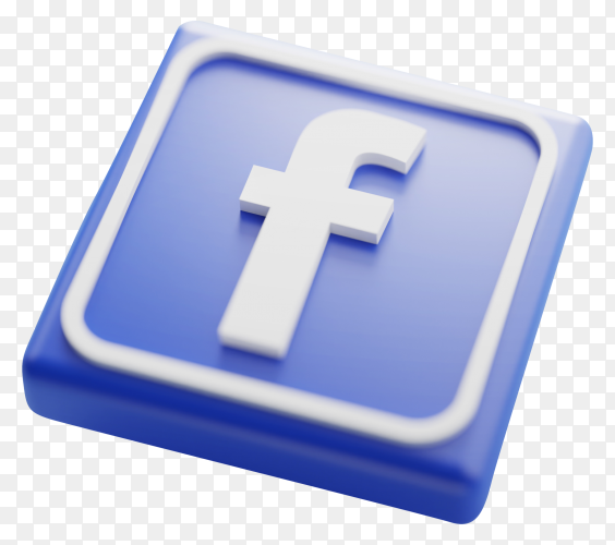 Facebook logo 3d rendering on transparent background PNG