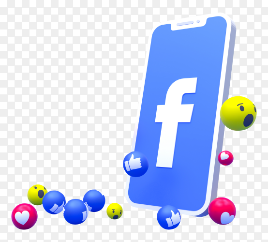 Facebook logo symbol on smartphone screen with 3D emojis on transparent background PNG