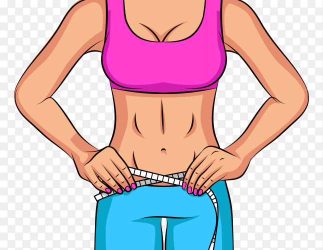 Female fitness on transparent background PNG