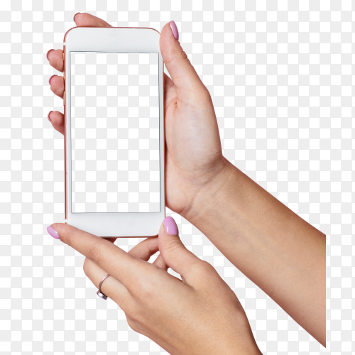 Female hands hold mobile phone with white screen on transparent background PNG