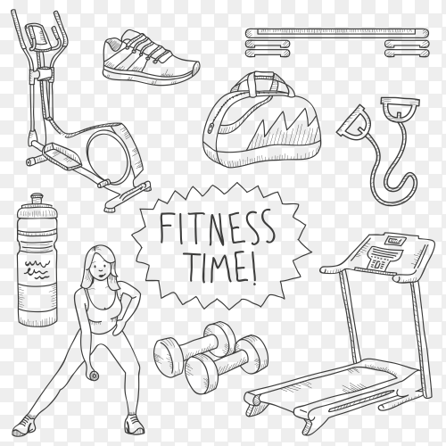 Fitness time Design poster clipart PNG
