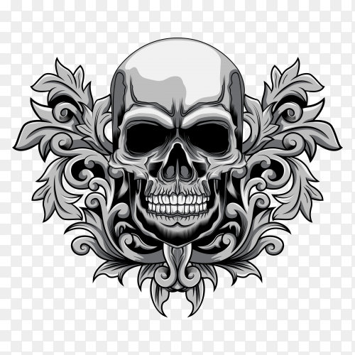 Floral skull illustration Premium vector PNG