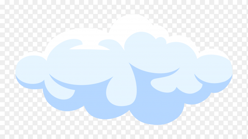 Fluffy white cartoon cloud in blue sky on Clipart  PNG