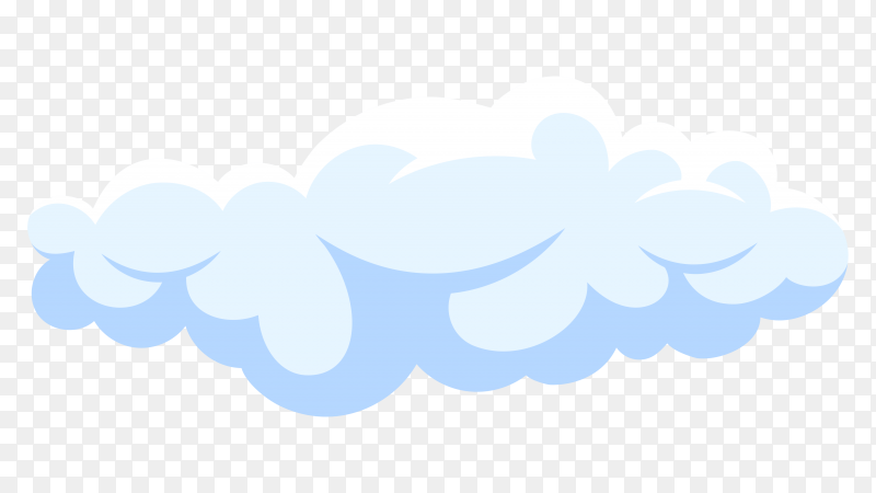 Fluffy white cartoon cloud in blue sky on Premium vector PNG