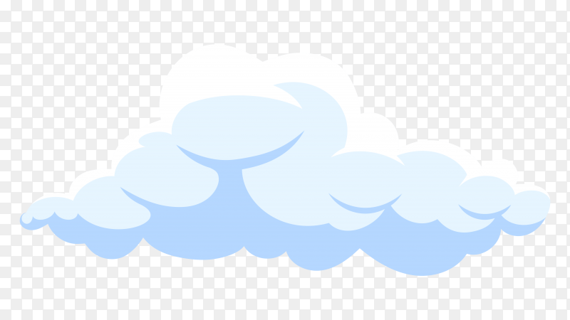 Fluffy white cartoon cloud in blue sky on transparent PNG