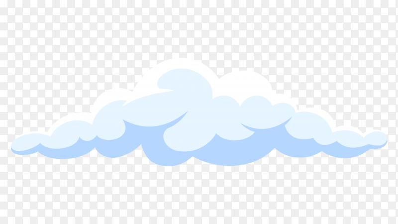 Fluffy white cartoon cloud in blue sky on vector PNG