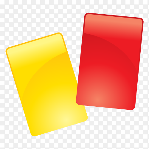 Football red and yellow card on transparent background PNG