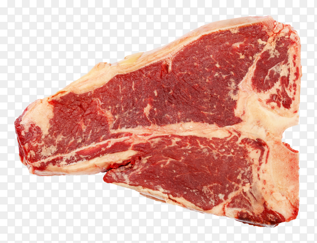 Fresh meat beef steak isolated on transparent PNG