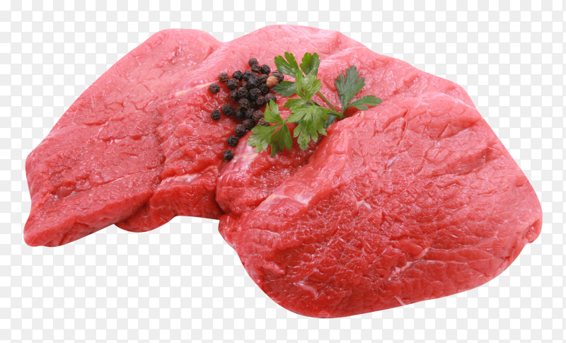 Fresh meat beef steak isolated on transparent background PNG