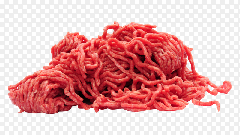 Fresh minced meat ready for cooking on transparent PNG